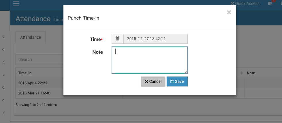 Punch in with user time